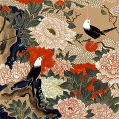 "Detail. Peonies and small birds. 伊藤若冲. Itō Jakuchu. One of a set of 30 Japanese hanging scrolls, ""Colorful Realm of Living Beings."" Ink and color on silk. Edo period. Eighteenth century. The Museum of the Imperial Collections)."