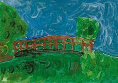BB. Claude Monet. Na het bekijken van een aantal schilderijen van Monet (kunstboek of afbeeldingen van internet op het smartboard laten zien) en een korte uitleg van impressionisme, gaan de leerlingen met alle materialen naar een bruggetje in de buurt. Impressionisme, het vastleggen van de indruk die jij hebt van een bruggetje, is de schilderopdracht voor de kinderen. Daarbij moeten ze in dezelfde stijl als Monet schilderen, dus met vlekken en vegen.