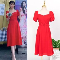 Feeling lavish and extravagant? Be like Jang Man Wol, the CEO of Hotel Del Luna, who loves fancy things just like this dress. Get this latest item inspired from newest Korean Drama Hotel Del Luna to complete your posh look! Korean Fashion Trends, Korea Fashion, Kpop Fashion, Trendy Fashion, Cute Red Dresses, Casual Dresses, Skirt Fashion, Fashion Dresses, Luna Fashion