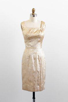 vintage 1960s dress / Lilli Diamond dress and coat set / Gold Cocktail Dress and Coat