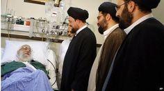 Ayatollah Khamenei (left) with grandsons of Ayatollah Khomeini (08/09/14)