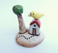 Miniature House with tree clay houses ceramic by potteryhearts