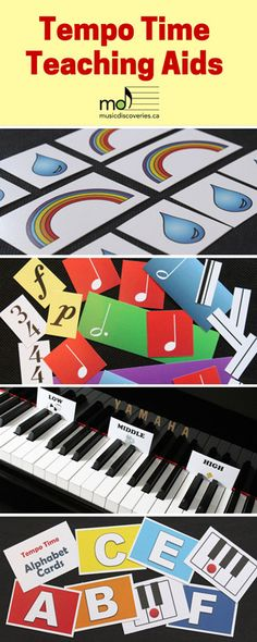 Tempo Time Teaching Aids include: Drip and Rainbow Cards; Rhythm Blocks; High/Middle/Low Cards; Music Alphabet Cards