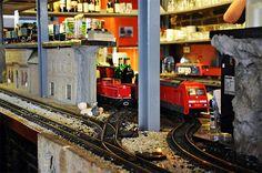 Vytopna Train Restaurant, near Wenceslas Square in Prague. Your drinks arrive on mini trains.