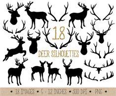 Deer Clipart. Antler Silhouettes Clip Art. Christmas Reindeer Scrapbook Clip art. Black Digital Deer Silhouettes. Woodland Animals Clipart.