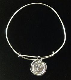 """P"" for Paula. Adjustable Bamgle Bracelet."