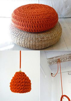 puff de punto & tejido vegetal; im gonna learn how to make that floor pouf!