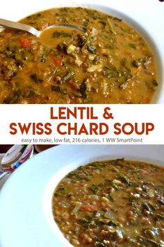 This Lentil & Swiss Chard Soup turns out hearty and satisfying, perfect for an easy weeknight meal, especially when you add some warm crusty bread - only 216 calories and 1 WW Freestyle SmartPoint! Rainbow Swiss Chard Recipe, Rainbow Chard Recipes, Swiss Chard Recipes, Best Low Carb Recipes, Easy Healthy Recipes, Easy Dinner Recipes, Meat Recipes, Cooking Recipes, Healthy Lunches