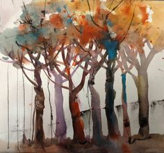Shirley Trevena's Trees Colorful Art, Fall Watercolor, Watercolor Artists, Abstract Tree Painting, Tree Art, Painting Inspiration, Painting, Abstract Tree, Landscape Art