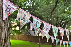 Delilah by Tanya Whelan Happy Birthday fabric banner bunting, birthday party decoration, great for this year's backyard birthday party!