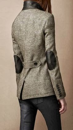 Gorgeous Burberry Elbow Patch Dark Grey Coat. THIS is what I really love, English style with elbow patches
