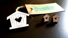 Bird Lover Gift Set.  Mix and match blue and white birdhouse earrings and brooch. Handmade jewellery, lasercut from upcycled wood. by BoughtoBeauty on Etsy