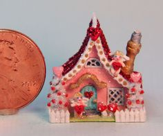 OOAK Miniature Dollhouse Valentine Putz Handcrafted Cherub Cottage Love House