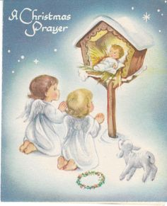 Vintage Christmas Card Angels Baby Jesus in a Manger Marjorie Cooper Made in USA