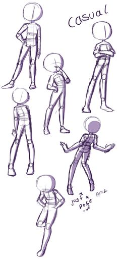Here's a reference page just for drawing casual or relaxed standing poses. For more of en explanation and a walk-through, watch the video linked to the pin! :3