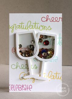 Congratulations card by Alice Wertz for Paper Smooches - Wine Glass die, Simply Said, Sentiment Sampler, Delightful Greetings