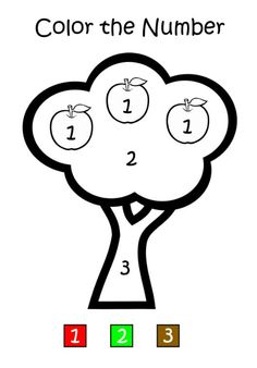 apple tree color by number - Preschool Colouring