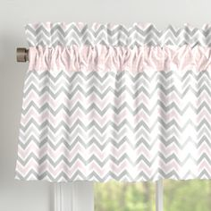 Carousel Designs Pink and Gray Chevron Window Valance Rod Pocket. Approximately x Tab-top style window valance. Can drape straight down or be stuffed. Made in the USA. Baby Room Curtains, Cute Curtains, Grey Curtains, Ruffle Curtains, Kitchen Curtains, Grey Chevron Nursery, Gray Chevron, Cortinas Country, Houses