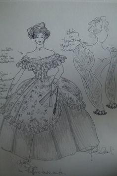 figurino per un costume da ballo 1860 circa.