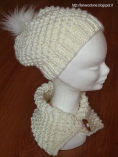 Lana e Cotone (maglia e uncinetto): Cappello e collo a ferri