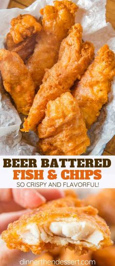 Beer Battered Fish made with fresh cod filets dipped in seasoned beer batter and fried until golden brown and crispy EASY to make and ready in only a few minutes fish fishandchips friedfoods fry cod crispy dinner cooking dinnerthendessert Tilapia Fish Recipes, Fried Fish Recipes, Easy Fish Recipes, Seafood Recipes, Cooking Recipes, Fried Fish Fillet Recipe, Cooking Fish, Vegan Recipes With Fish, Recipe For Fried Cod Fish