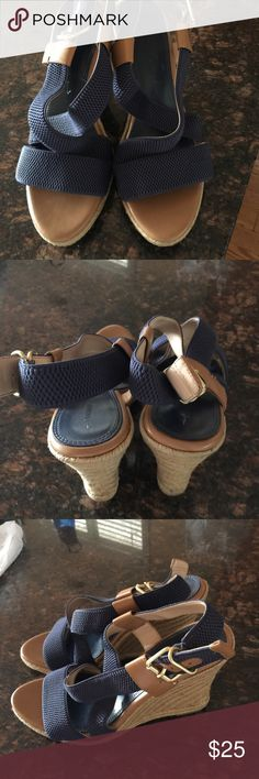 Shoes Blue Espadrille Wedges Banana Republic Shoes Espadrilles