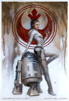 R2D2 and Princess Leia by Adi Granov #StarWars