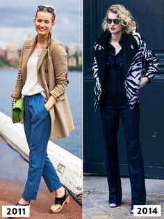 Then and now: Zanita Whittington of Zanita wearing a camel coat with dark brown elbow patches and cropped trousers in 2011 and a trendy printed jacket over a navy pantsuit in 2014