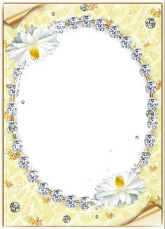 Yellow Transparent Photo Frame with Flowers and Diamonds