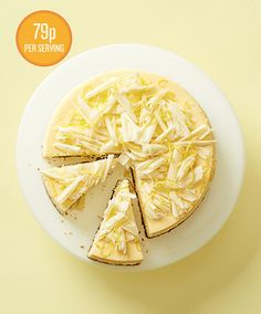 Lemon cheesecake. For an extra lemon hit, swirl a few dollops of lemon curd through the top of the cheesecake before baking.