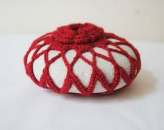 Red Lace Beach Stone Table Decoration Beach Home Decor 3D Flower Stone paper weight Doorstop