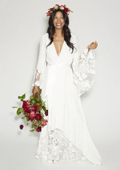 "Stone Fox Bride The Glenda | http://stonefoxbride.com/products/the-glenda | ""The Deets: High-drama layered silk crepe robe dress featuring paneled net lace with textured cotton appliques."""