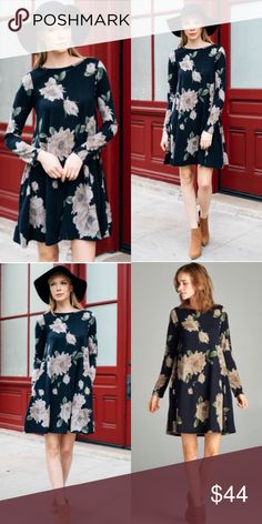 ❣️LAST❣️ Black Floral Loose Tunic Pockets Dress Brand new beautiful dress! Available in S (2-4) M (6-8) L (10-12) XL (14-16). Same dress with different prints available in my other listings! Slightly sheer will need a slip or cute with tights Dresses Mini