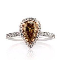 1.77ct Fancy Dark Brown Orange Yellow Pear Shaped Diamond Engagement Anniversary Ring