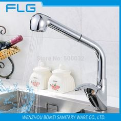 Best Quality Wholesale And Retail Chrome Solid Brass Water Power Kitchen Faucet Swivel Spout Pull Out Vessel Sink Mixer Tap * Continue to the product at the image link.