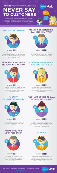 8 Things Your Support Team Should NEVER Say to Customers #Infographic >> Great reminder for excellent #customerservice.