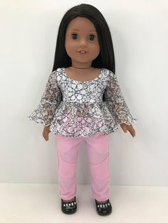 18 inch 18 doll clothes Pink moto pants.