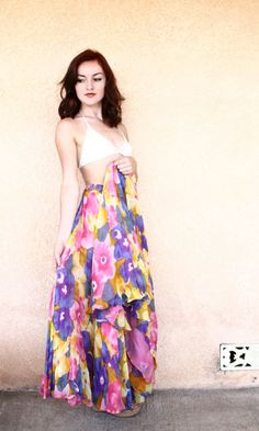 vintage maxi skirt / 60s floral maxi / high waisted skirt ( small - medium ) on Etsy, $32.00