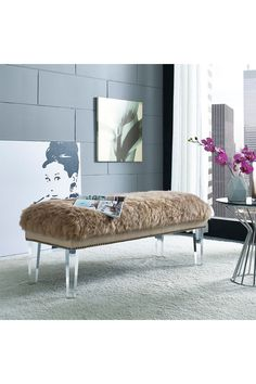 Brown Luxe Genuine Sheepskin Fur Lucite Bench on @HauteLook