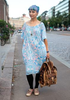 """Oona, 20  """"I'm wearing a Monki dress, a vintage backbag and a necklace from Urban Outfitters.    I like colours and prints mixed with something black."""""""