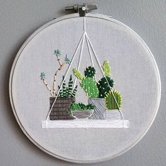 Ideas For Embroidery Hoop Crafts Diy Cross Stitch Cactus Embroidery, Embroidery Hoop Crafts, Embroidery Fashion, Hand Embroidery Patterns, Embroidery Art, Cross Stitch Embroidery, Cactus Craft, Diy Broderie, Sewing Crafts