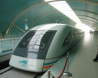 Riding the Shanghai Maglev, one of the fastest trains in the world.