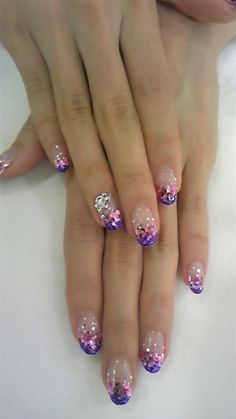 Purple PINK & Silver Glitter Mani... #slimmingbodyshapers   To create the perfect overall style with wonderful supporting plus size lingerie come see   slimmingbodyshapers.com
