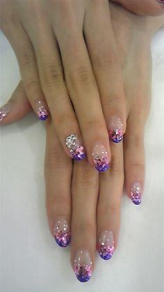 Purple PINK & Silver Glitter Mani...