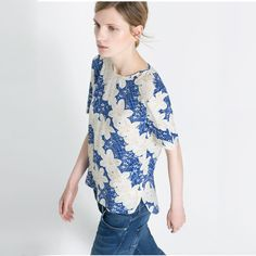 Origami Blue Structured Top