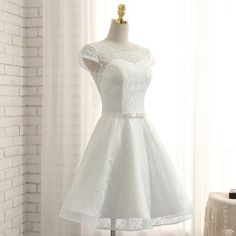Cute a line white lace short prom dress homecoming dresses from of girl Quinceanera Dresses, Homecoming Dresses, Wedding Dresses, Robes De Confirmation, White Lace Shorts, Dress Silhouette, Short Prom, Beautiful Dresses, Marie
