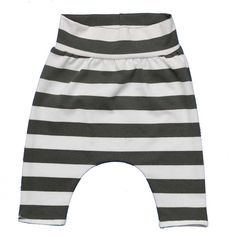 Organic baby harem pants with grey white stripes by HeyBBnl