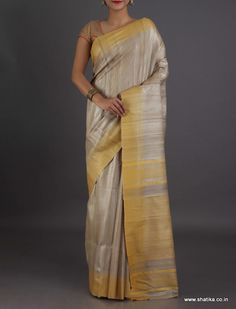 Lasya Plain With Yellow Stripes On Pallu Border Pristine #BhagalpuriSilkSaree