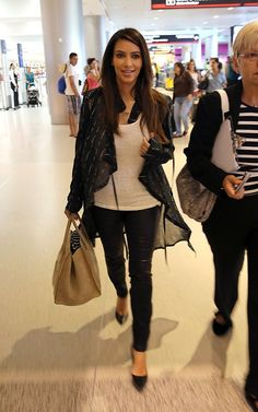 Kim Kardashian wearing Gianvito Rossi Pointed Toe Pump Celine Luggage Phantom Suede Tote Bag in Light Brown. Kim Kardashian Miami October 4 2012.