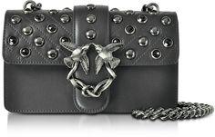 Pinko Mini Love Black Matte Leather Shoulder Bag w/Studs and Crystals  #handbag #affiliate